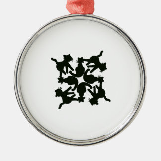 lucky cat pattern,cat picture art Silver-Colored round decoration