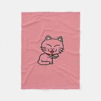Lucky Cat Pink Fleece Blanket