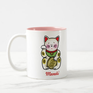 Lucky Cat Two-Tone Coffee Mug