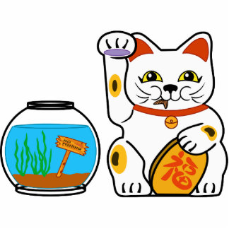 Lucky Cat. Unlucky Fish. Standing Photo Sculpture