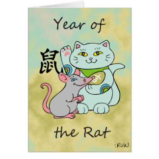 Lucky Cat Year of the Rat Customizable Card