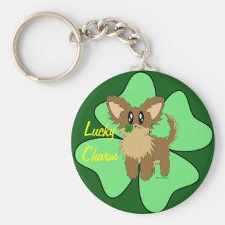 Lucky Charm Four Leaf Clover Puppy Dog Keychain