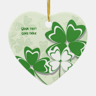 Lucky charm Irish clover shamrock St. Patricks Day Ceramic Heart Decoration