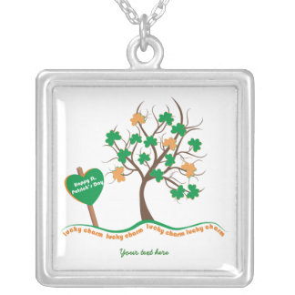 Lucky charm tree clover shamrock St. Patricks Day Square Pendant Necklace