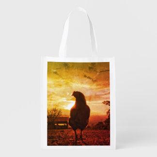 Lucky chicken reusable grocery bag