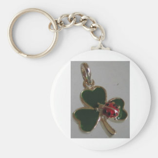 lucky clover and ladybird basic round button key ring