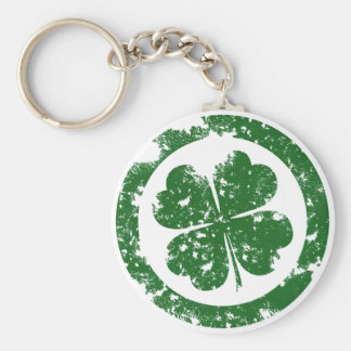 Lucky Clover Basic Round Button Key Ring