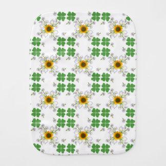 Lucky clover , Clover with Sunflower Calla Lily Burp Cloth