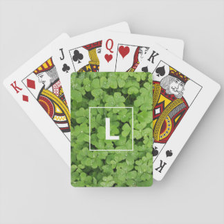 Lucky clover initial playing cards. playing cards