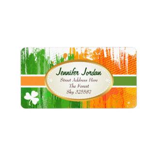 Lucky Clover & Ink Background Address Label