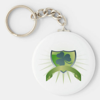 Lucky Clover Shield and Banner Basic Round Button Keychain