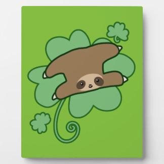 Lucky Clover Sloth Plaque