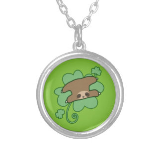 Lucky Clover Sloth Silver Plated Necklace