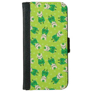 Lucky Cute Frenchie on St. Patrick's Day iPhone 6 Wallet Case