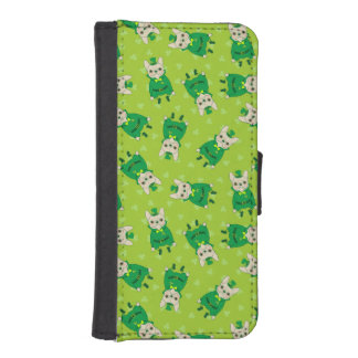 Lucky Cute Frenchie on St. Patrick's Day iPhone SE/5/5s Wallet Case