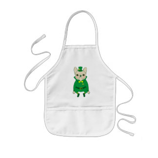 Lucky Cute Frenchie on St. Patrick's Day Kids Apron