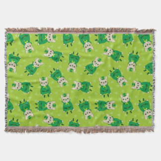 Lucky Cute Frenchie on St. Patrick's Day Throw Blanket
