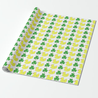 Lucky Duck Rubber Ducky Duckie Shamrock Wrap Wrapping Paper