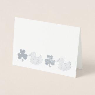 LUCKY DUCK Rubber Ducky Shamrock Clover Congrats Foil Card