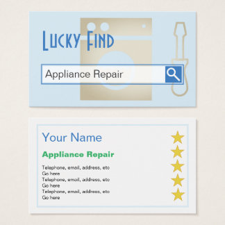"""""""Lucky Find"""" Appliance Repair Business Cards"""