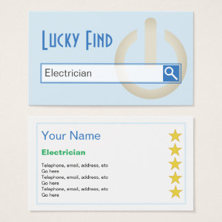 """Lucky Find"" Electrician Business Cards"