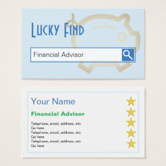 """""""Lucky Find"""" Financial Advisor Business Cards"""