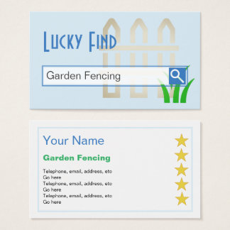 """Lucky Find"" Garden Fencing Business Cards"