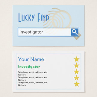 """Lucky Find"" Investigator Business Cards"