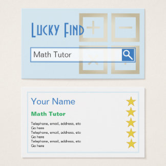 """Lucky Find"" Math Tutor Business Cards"