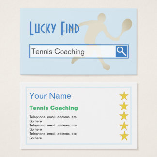 """""""Lucky Find"""" Tennis Coaching Business Cards"""