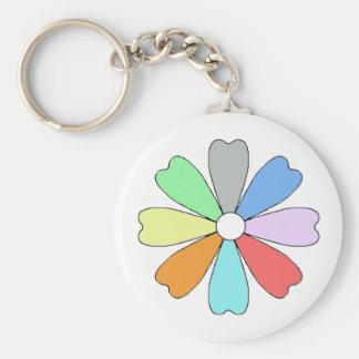 Lucky Flower Button Keychian Key Ring