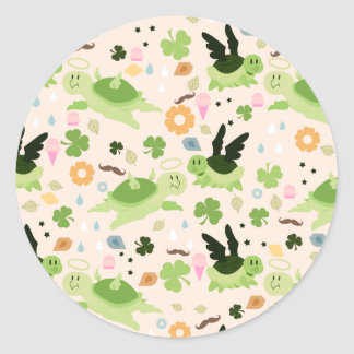 Lucky Flying Turtles Pattern Round Sticker