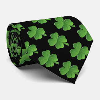 Lucky Four Leaf Clover Black Background Tie
