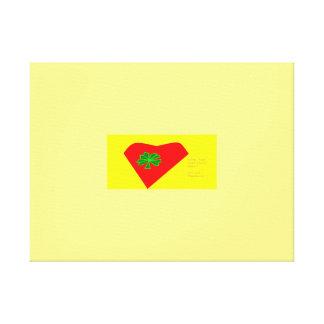 lucky four leaf clover heart gallery wrap canvas