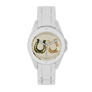Lucky gold/green horseshoes Irish st patrick's day Wristwatches