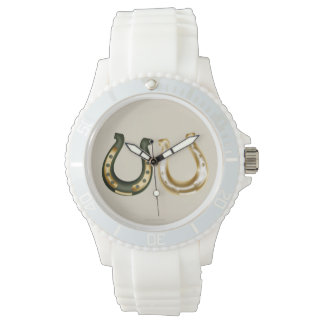 Lucky gold/green horseshoes Irish st patrick's day Watches