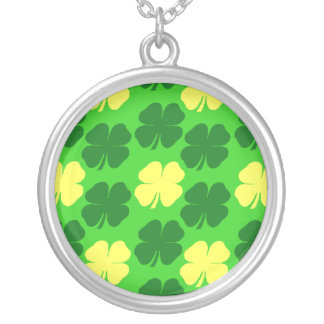 Lucky Golden Shamrocks Round Pendant Necklace