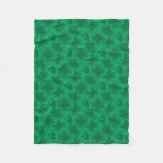 Lucky Green 4-Leaf Clover Irish Spring Clovers Fleece Blanket