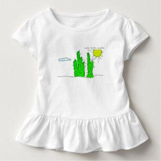 Lucky Green Cactus Doodle Funky Ruffle T-Shirt