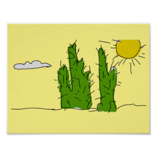 Lucky Green Cactus Doodle Poster
