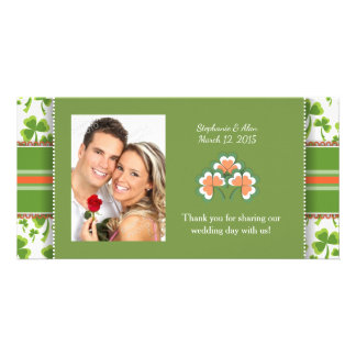 Lucky Green Clover Wedding Thank You Photo Cards