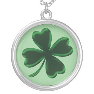 Lucky Green Four Leaf Clover Shamrock Necklace