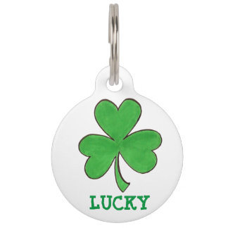Lucky Green Irish Shamrock Clover Luck Pet Dog Tag Pet Name Tags