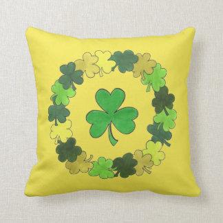 Lucky Green Irish Shamrock Clover Wreath Yellow Cushion