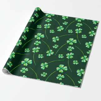 Lucky green pattern with shamrocks wrapping paper