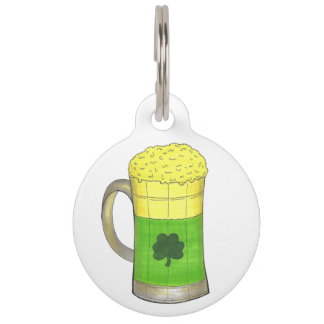Lucky Green Shamrock Clover Beer Mug Dog Pet Tag