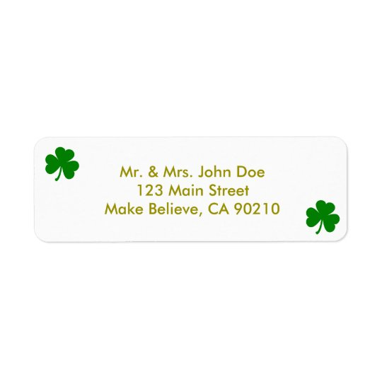 Lucky Green St Patrick's Day Irish Shamrock Return Address Label