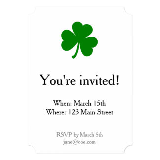 Lucky Green St Patrick's Day Shamrock 13 Cm X 18 Cm Invitation Card