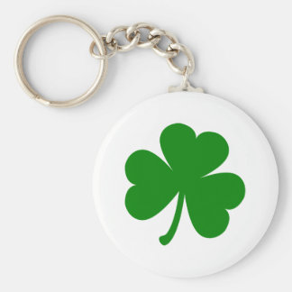 Lucky Green St Patrick's Day Shamrock Basic Round Button Key Ring