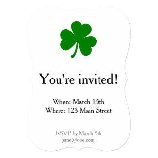 Lucky Green St Patrick's Day Shamrock 5x7 Paper Invitation Card